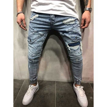 Wholesale Blue Hole Skinny Ripped Young Mens Jeans Slim Fit