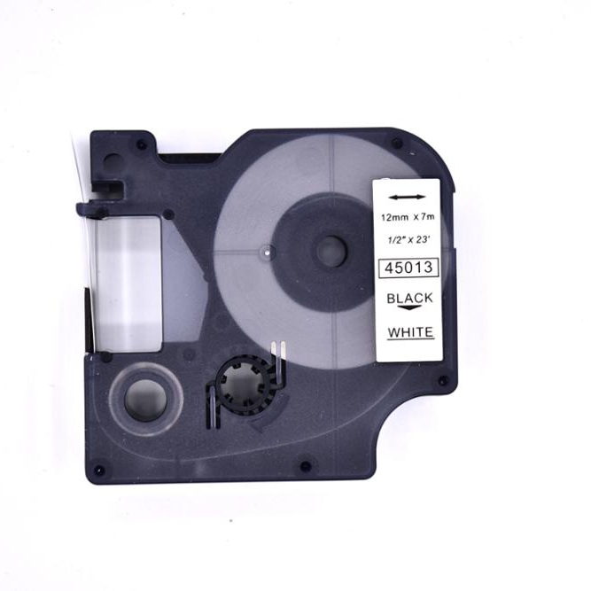 PUTY original quality compatible DYMO D1 ribbon cassette tape label 12mm black on white 45013