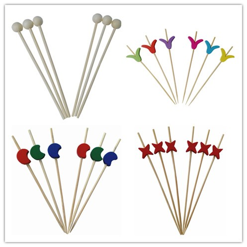 Fashion Braided Pole Bamboo Bead Picks For Party