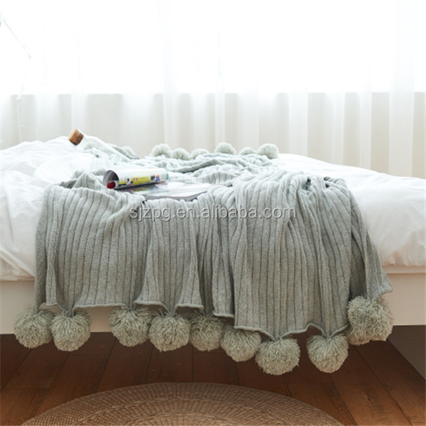 Knit Couch Blanket Pompom throw