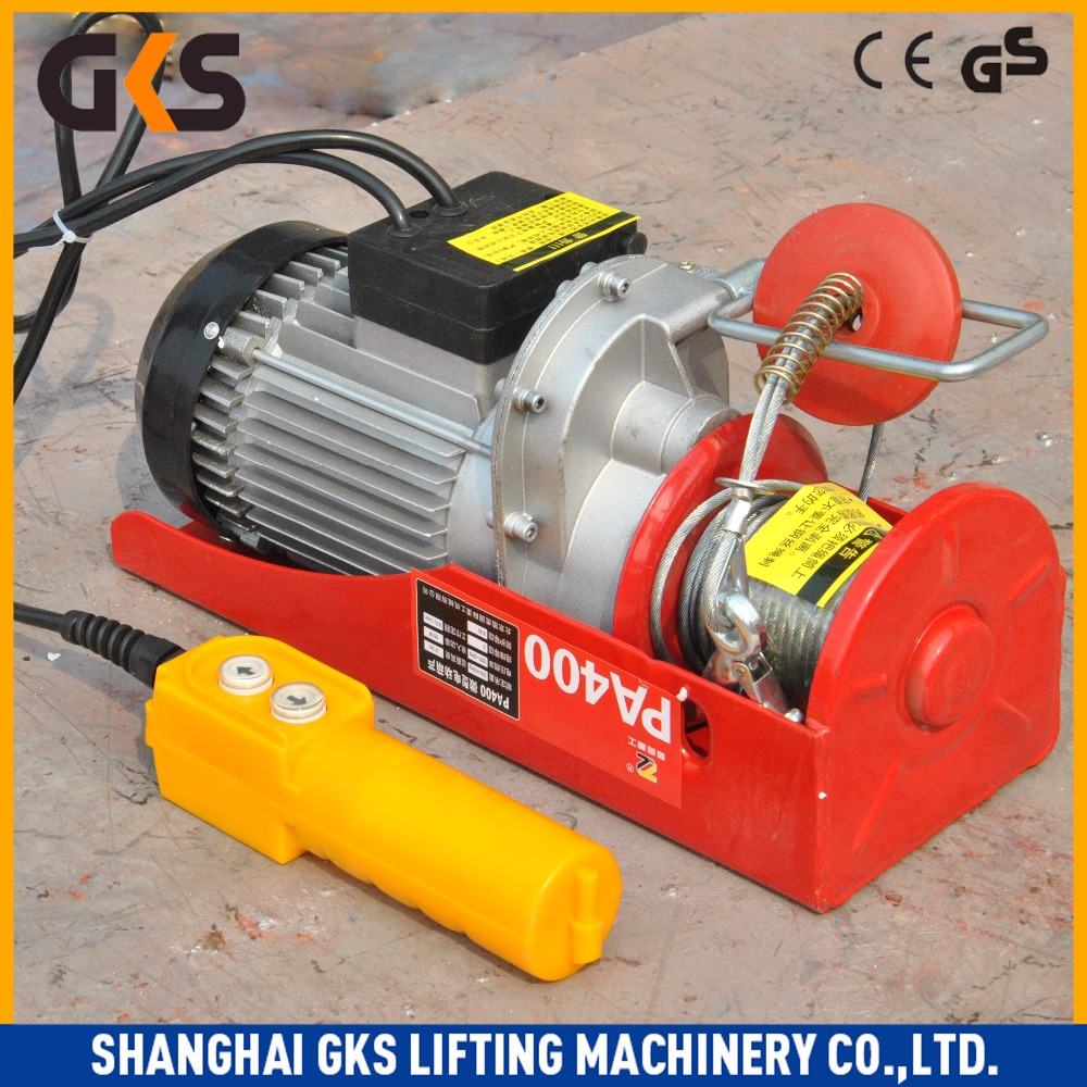 Alibaba Trade Assurance,mini wire rope electric winch hoist,500kg lifting crane with plain/geared trolley