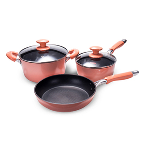 2019 fashion Pantone color 3pcs high quality non-stick coating aluminum cookware sets kitchenware set