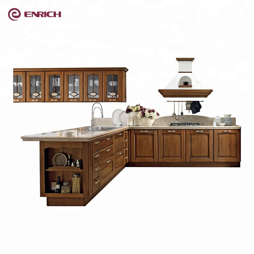 Good Price Classical Style Solid Wood L Shaped Kitchen Cabinet With Island Cabinet Buy Solid Wood Walnut Kitchen Cabinets L Shaped Kitchen