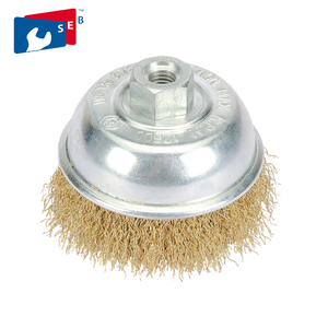 Crimped steel wire cup brush for use with grinders