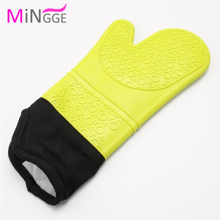 extra long size kitchen BBQ baking silicone rubber glove cotton oven mitts