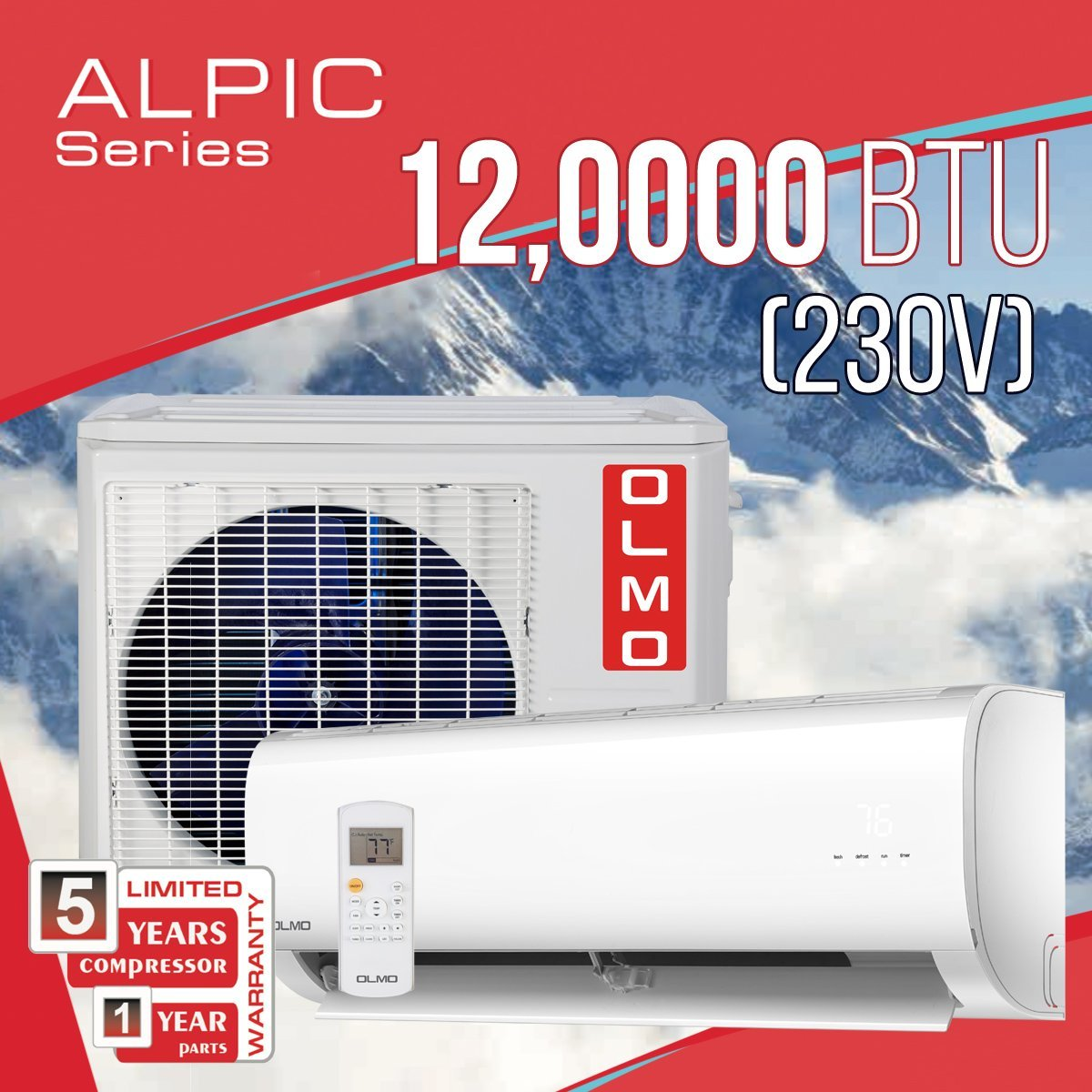 OLMO Alpic 18,000 BTU Ductless Mini Split Air Conditioner Heat Pump