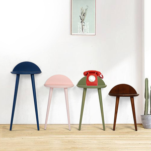 Creative and Colorful Wooden Folding Round End Table