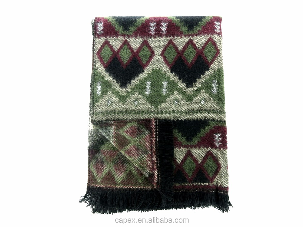 Good Hand Feel Fringe Warm Green Heart Patterm Acrylic Scarf