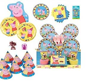 Peppa Pig Ultimate Birthday Party Plate, Napkins, Tablecover Kit Serves 8