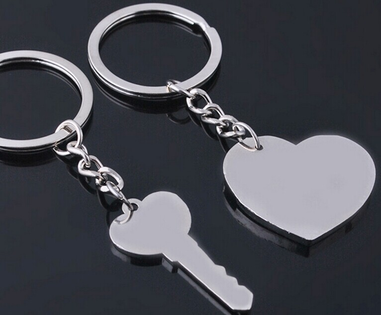 custom made lock and key couple heart shape keychain