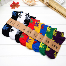 Cotton socks Germany's harajuku hip-hop maple leaf socks Men street boat socks hemp cotton socks