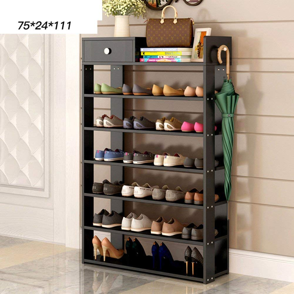 Wooden shoe rack [simple],household use,shoe rack with drawer storage shelf multi-layer shoe rack assemble the tiny shoe cabinet-Q