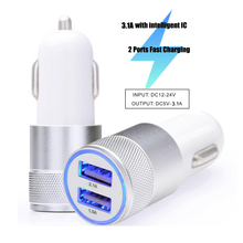 2017 Popular Bullet Design 3.1A Car Charger Quick Charge 2.0 Dual USB Car Adapter Smart Charging For Two USB devices