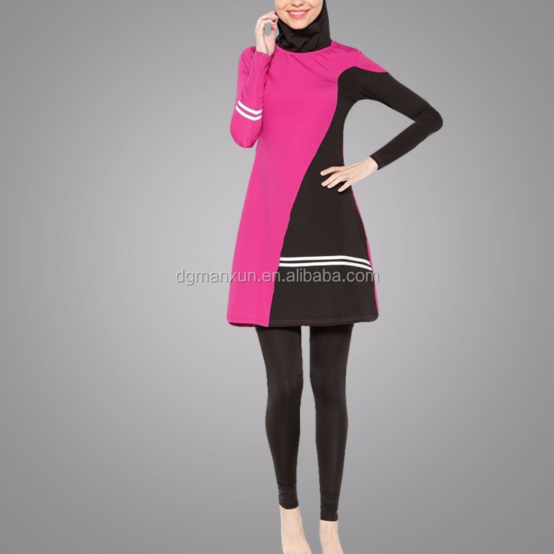 Islamic Clothing Wholesale Muslim Swimsuit contrast Color Swimwear For Women