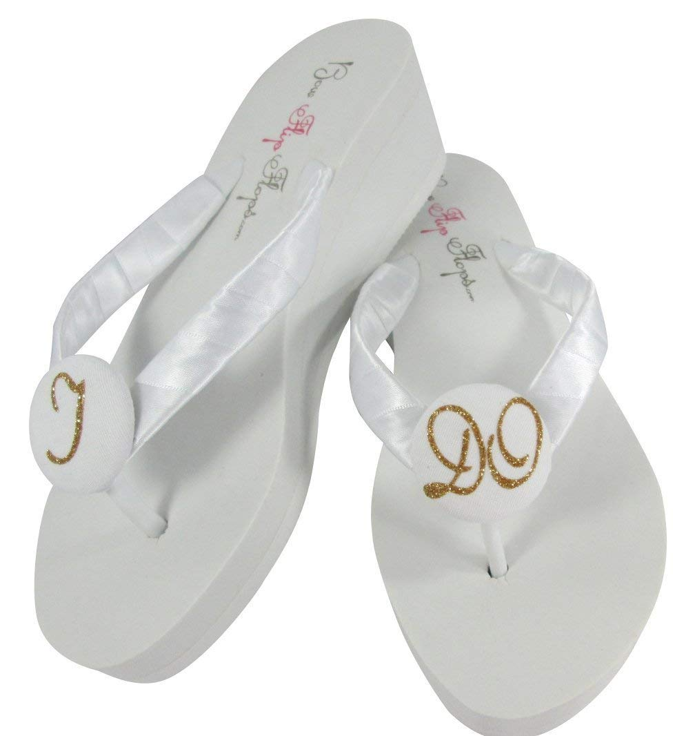 b5a218e41 Get Quotations · Gold and White or Silver or Customized Flip Flops with I  DO in glitter for Wedding