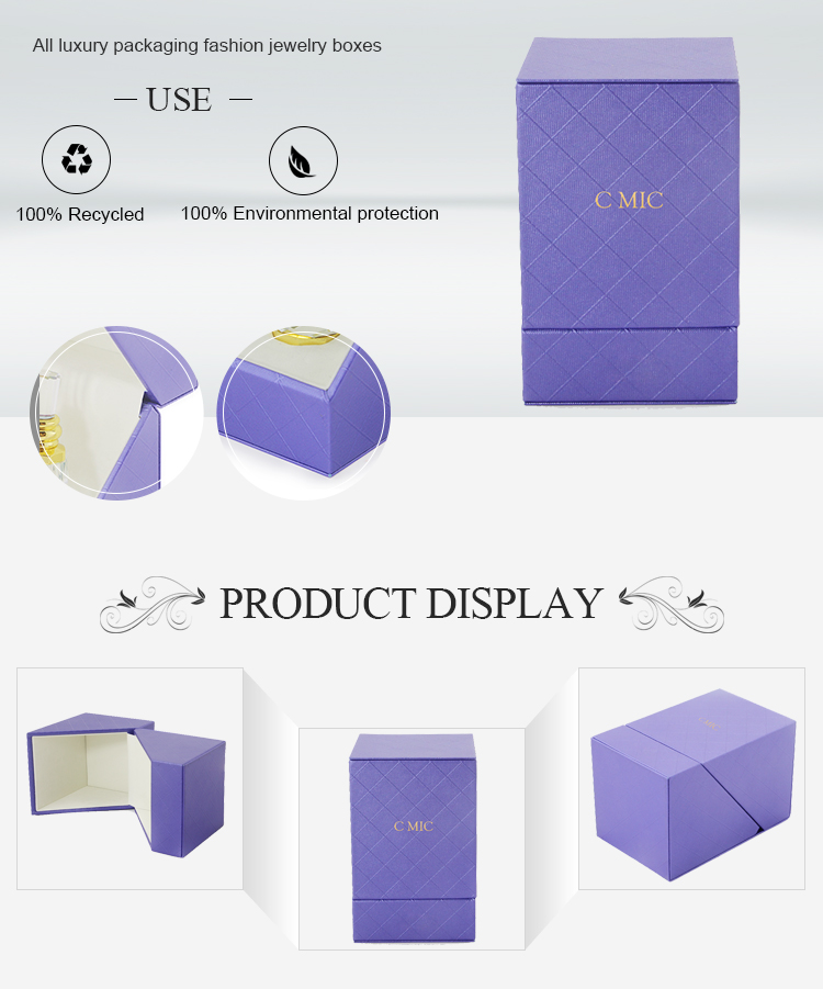 Wholesale exquisite flocking flip paper packaging empty perfume bottle gift box