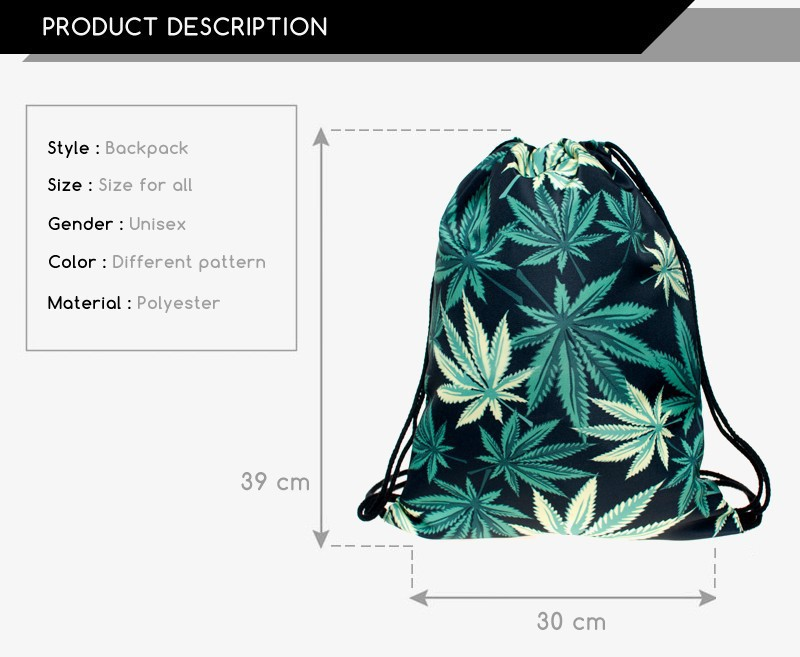 Hot Sale Backpack Drawstring Bag Fruits 3d Digital Print ...