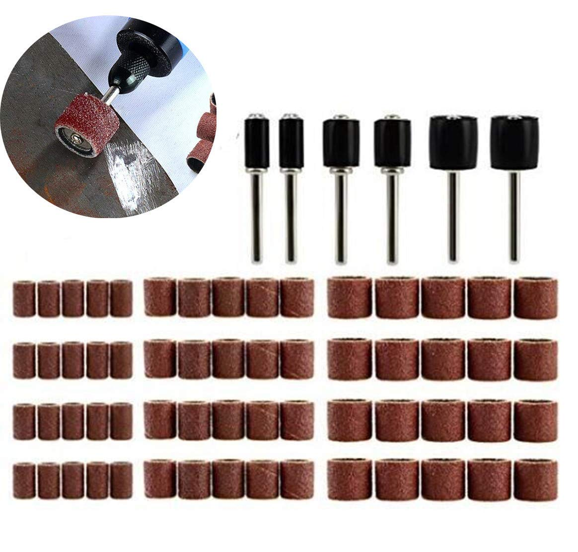 66 Pcs Sanding Drum Set, 60 Pcs 120 Grit Sanding Band Sleeves 1/4 3/8 1/2 inch with 6 Pcs Drum Mandrels for Dremel Rotary Tool