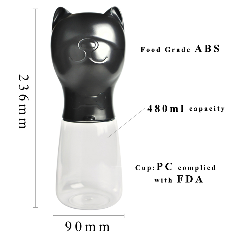 Portable cute dog water bottle for French bulldog