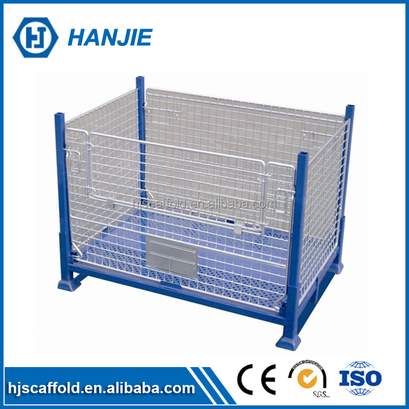 Foldable Rolling Metal Storage Steel Pallet Cage