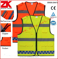 Hot selling safety work yellow/orange high visibility vest with pockets