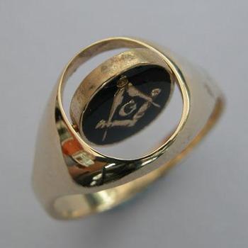 Customized Gold Masonic Swivel Signet Ring Jewelry