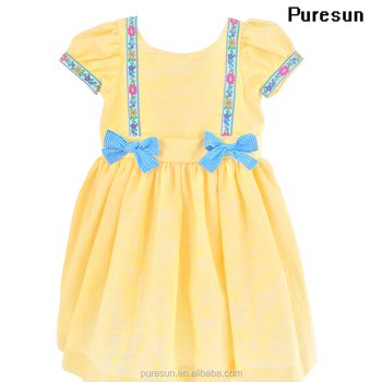00103eb3bd Newest Popular Summer Baby Girls Vintage Embroidered Flower Trim puff Cap  Sleeve Inspired Dress in Yellow