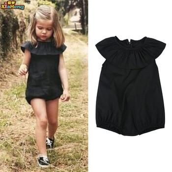 26c401cb982 Hot Sale Plain Black Children Set Dress Romper For Big Girls - Buy ...