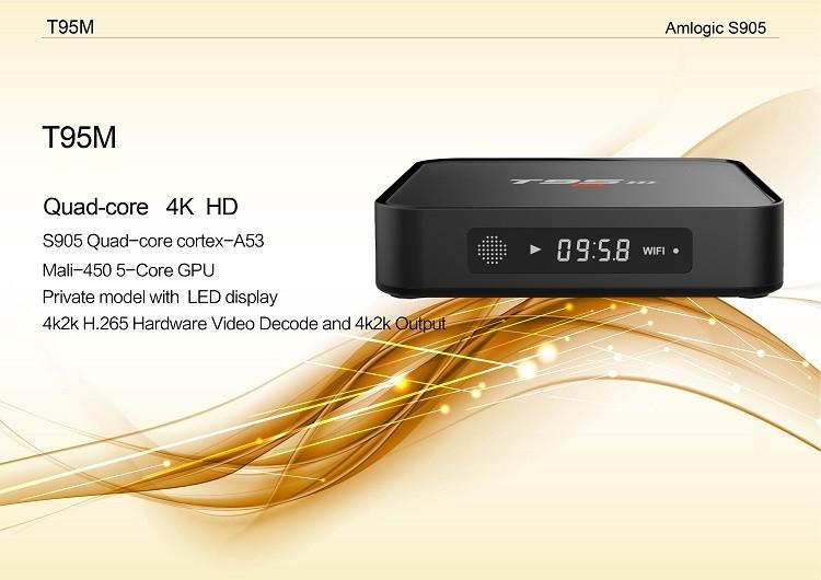 2016 Hot Selling 4K Smart Tv Box Amlogic S905 T95M Android 5.1 Tv Box 1G 8G Quad Core Tv Box T95M