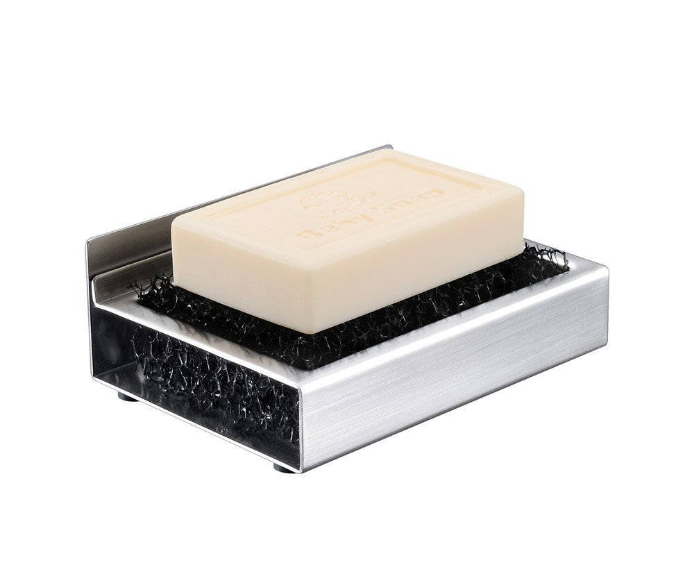 Glam Hobby Soap Dishes Self Adhesive Soap Dish for Shower Bathroom, Brushed Stainless Steel Soap Holder for Kitchen, Stick on Soap Tray, Wall Mounted Soap Rack, Stainless Steel (1)