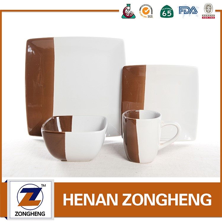 High Grade 16Pcs two tone color glaze ceramic dinnerware