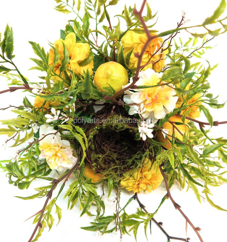 artificial flower mum wreath decorative spring wreath with natural vine for door decoration