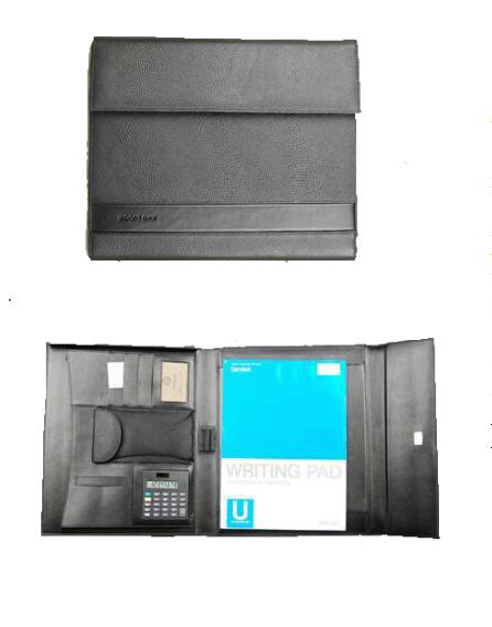 China supplier A4 leather compendium/PU portfolio/file folder with LOGO embossed with crocodile stripe