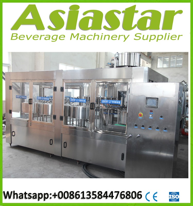 Aerated water filling machine /different volume for stable speed CO2 gas monobloc 3 in 1 carbonated drink filling machine