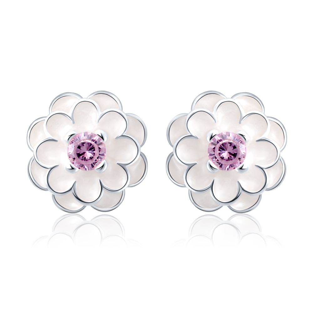 LZESHINE New 925 Sterling Silver White Enamel Flower Stud <strong>Earrings</strong> For Women Luxury Wedding Flower <strong>Earrings</strong> Jewelry PSER0067