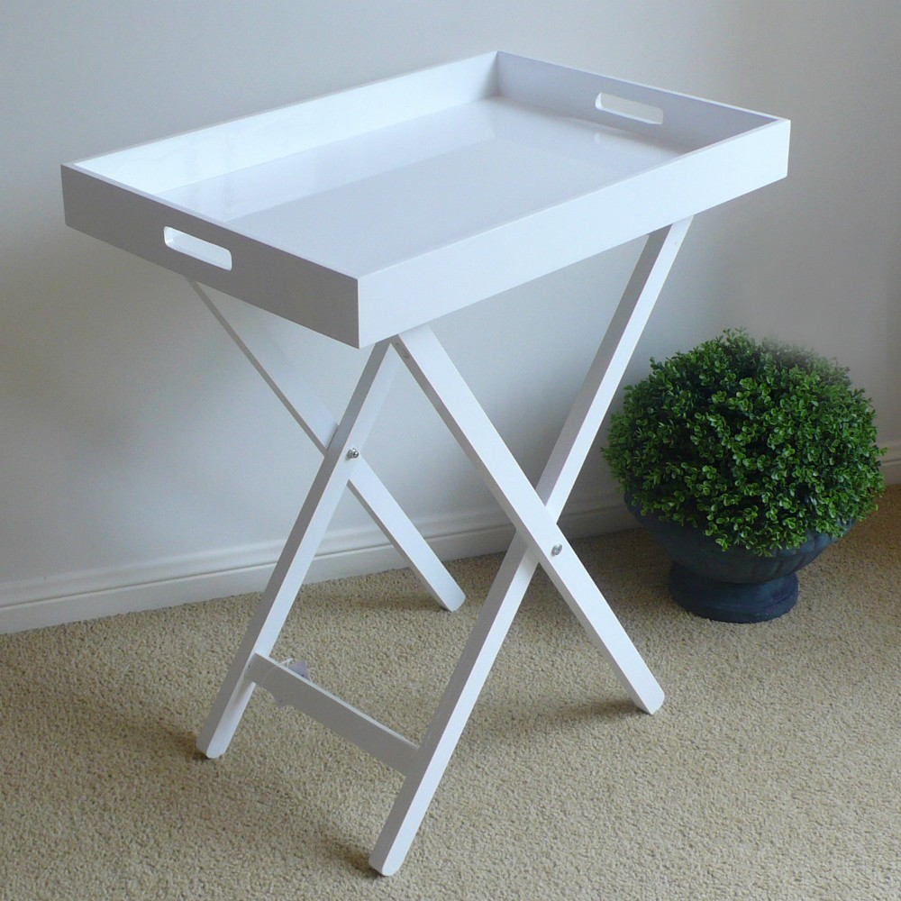 Beau Standing White Kitchen Servicing Tray Table