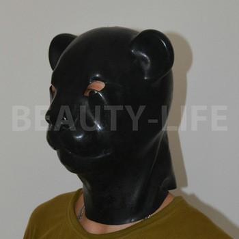 2015 new arrival latex hood mask sexy fetish animal series zipper on back leopard 0.8mm thick