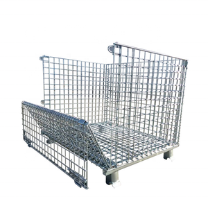 Good sale heavy duty foldable warehouse stacking collapsible metal wire mesh storage forklift cages with wheels