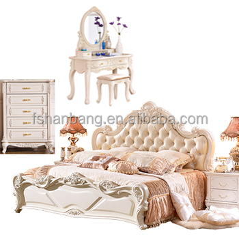 Classical White Royal Luxury European Style 4 Piece Wedding King Queen Size  Bedroom Furniture Set