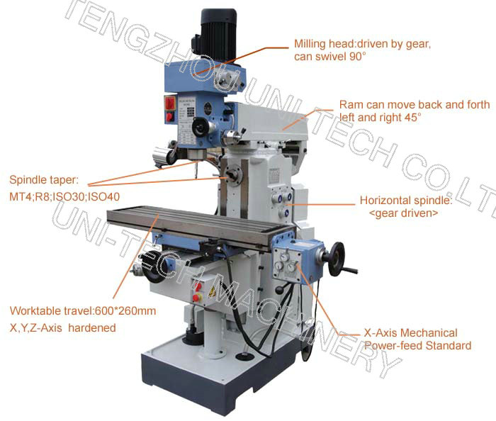 Conventional knee-type milling and drilling machine ZX6350C