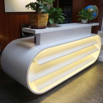 kingkonree artificial stone modern reception counter design for hotel