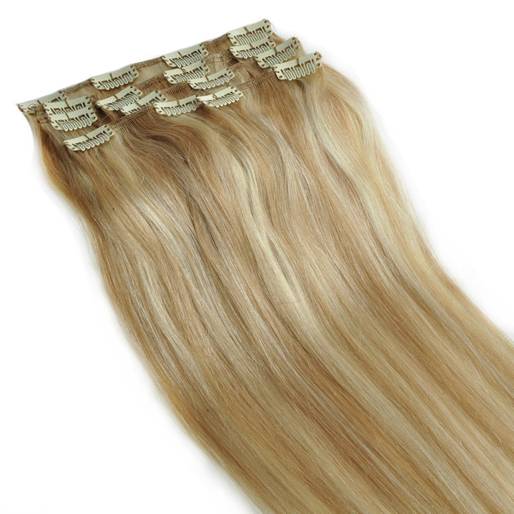 """Saferin Clip in Hair Extensions #27/613 Blonde Mixed Bleached Blonde 100% Natural Remy(Remi) Human Hair Real Hair Double Wefted Straight Silky Long Touch Clips Pieces Full Head 10pcs/Set 160g 20""""-22"""""""