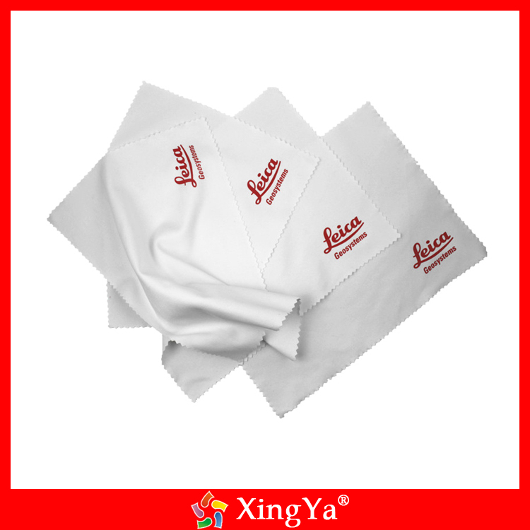 Lint free logo printed microfiber watch/jewelry cleaning cloth
