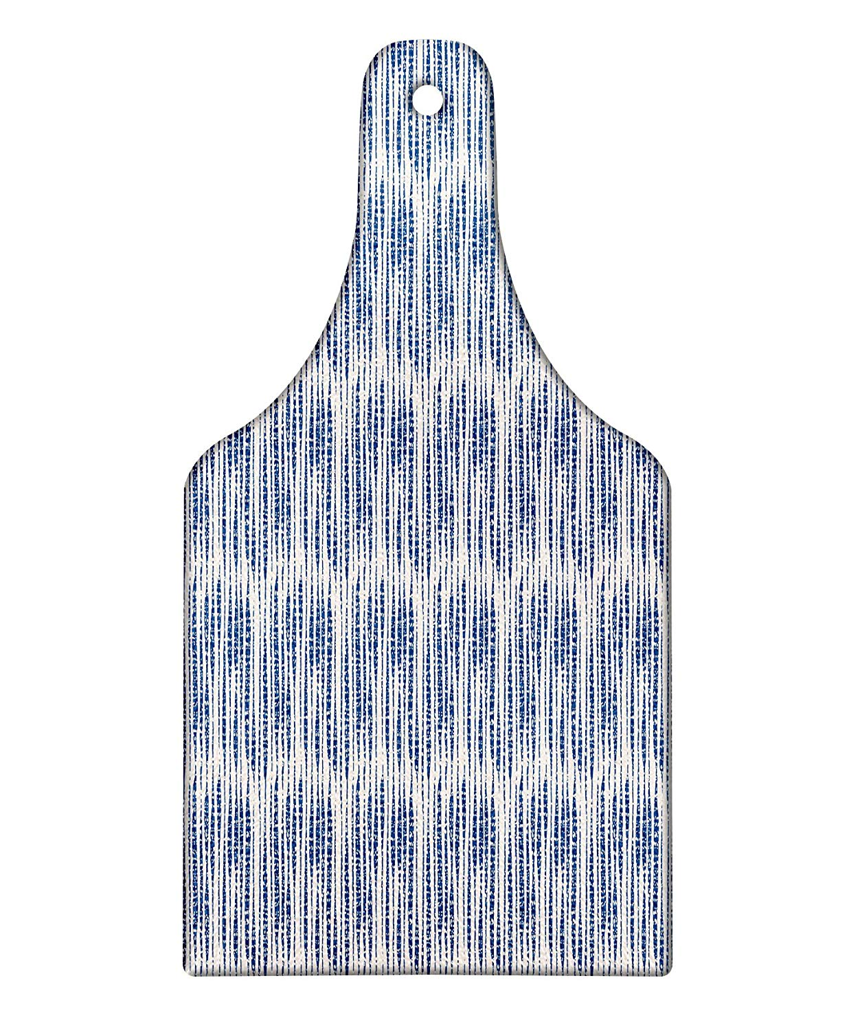 Lunarable Japanese Cutting Board, Oriental Composition of Stripes Watercolor Style Paint Dripping Pattern, Decorative Tempered Glass Cutting and Serving Board, Wine Bottle Shape, Night Blue Eggshell