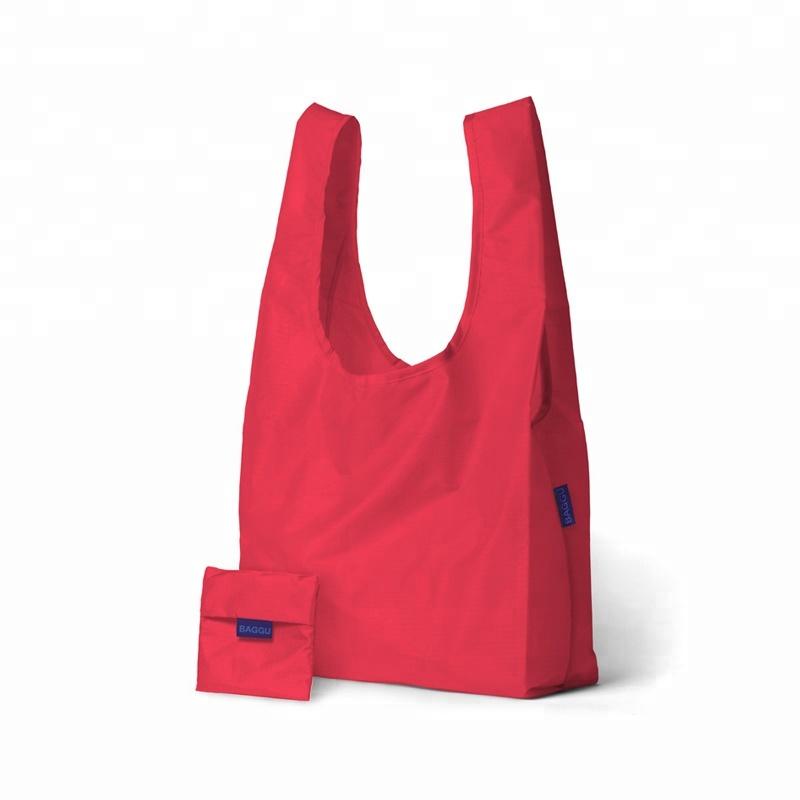 Custom Design Polyester Nylon Foldable Reusable Tote Shopping Bag With Logo Printing