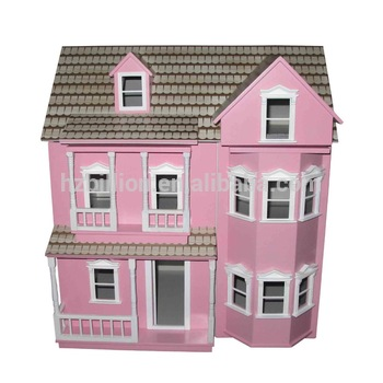 Beautiful Wooden Dolls House, 1/12 Scale Pink Victorian Doll House Furniture