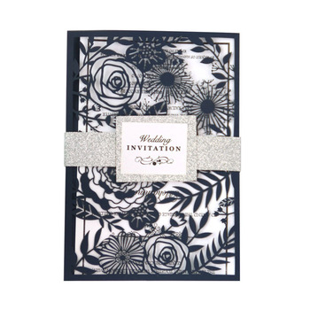 New arrival Navy Blue Wedding Card Design Event & Party Supply Laser Cut Wedding Card Invitations