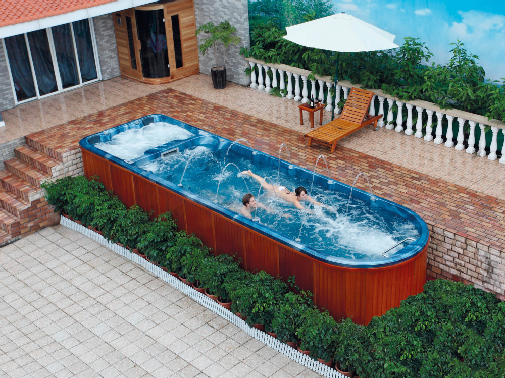 Square above ground pool fiberglass inground pool swimming for Big garden pools