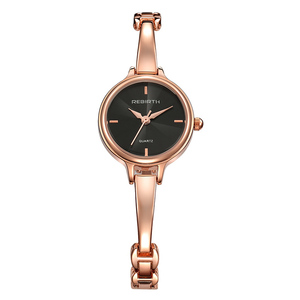 Rebirt-069 Gold Color Popular Stainless Steel Quartz Female Hand Watch Hot Sale Rebirth Brand Women Wrist Watch
