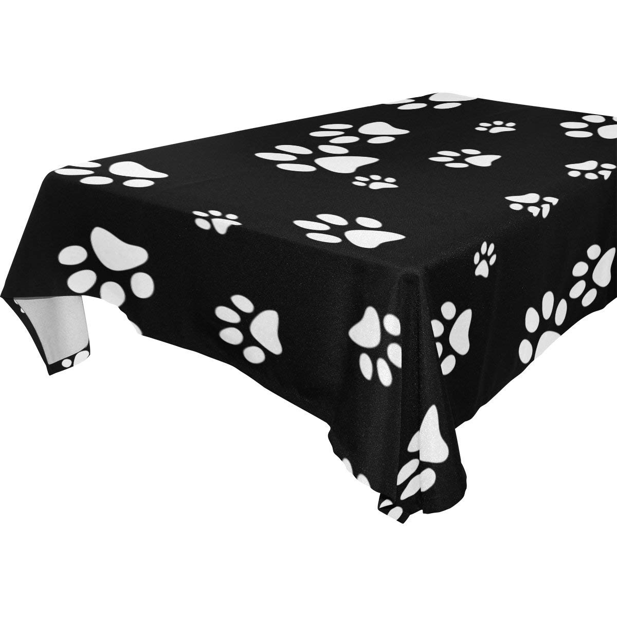 WOZO Rectangular Cute Puppy Pug Dog Paw Print Tablecloth Table Cloth Cover for Home Decor Dinner Kitchen Party Picnic Wedding Halloween Christmas 54x54 inch